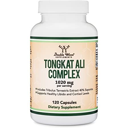 Tongkat Ali Extract 200 to 1 (Longjack) Eurycoma Longifolia, 1000mg per Serving, 120 Capsules - Endurance and Energy Herbal - Libido Booster, with 20mg Tribulus Terrestris by Double Wood