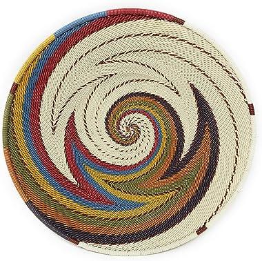 Bridge for Africa Fair Trade Zulu Telephone Wire 8-inch Platter Basket, White Desert