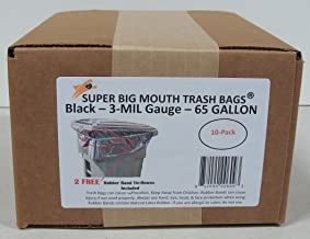 65 Gallon Super Big Mouth Trash Bags 10-Pack Plus 2 Free Rubber Tie Down Band