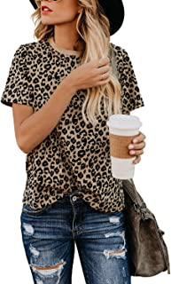 Womens Leopard Print Tops Short Sleeve Round Neck Casual...