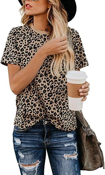 Blooming Jelly Camiseta de Mujer Blusas de Manga Estampado de Leopardo Corta Cuello Redondo Basica Camisa Verano Tops