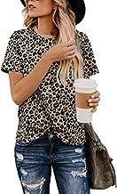 BMJL Women's Casual Cute Shirts Leopard Print Tops Basic Short Sleeve Soft Blouse