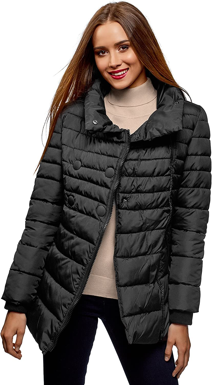 Oodji Ultra Women's Quilted Zipper Jacket with Decorative Buttons