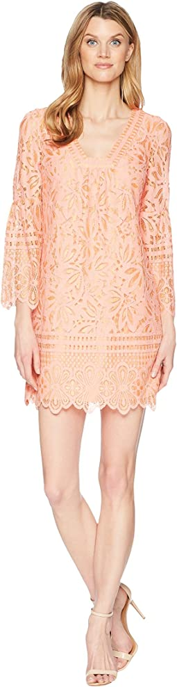 Laundry by Shelli Segal - Lace Shift Dress with Bell Sleeves