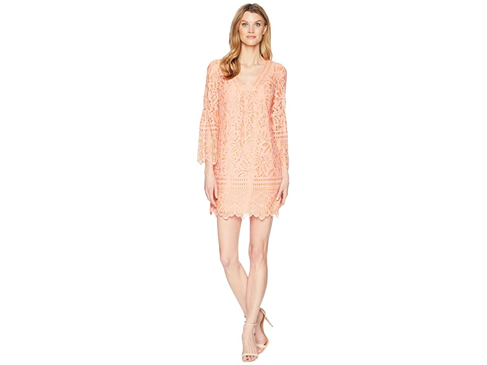 Laundry by Shelli Segal Lace Shift Dress with Bell Sleeves (Hot Coral) Women
