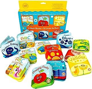 Super Bath Book Set of 12 (Set of 4: Fruit, Ocean, ABC, Numbers Books + Set of 4: Color Recognition Bath Books, Yellow, Gr...