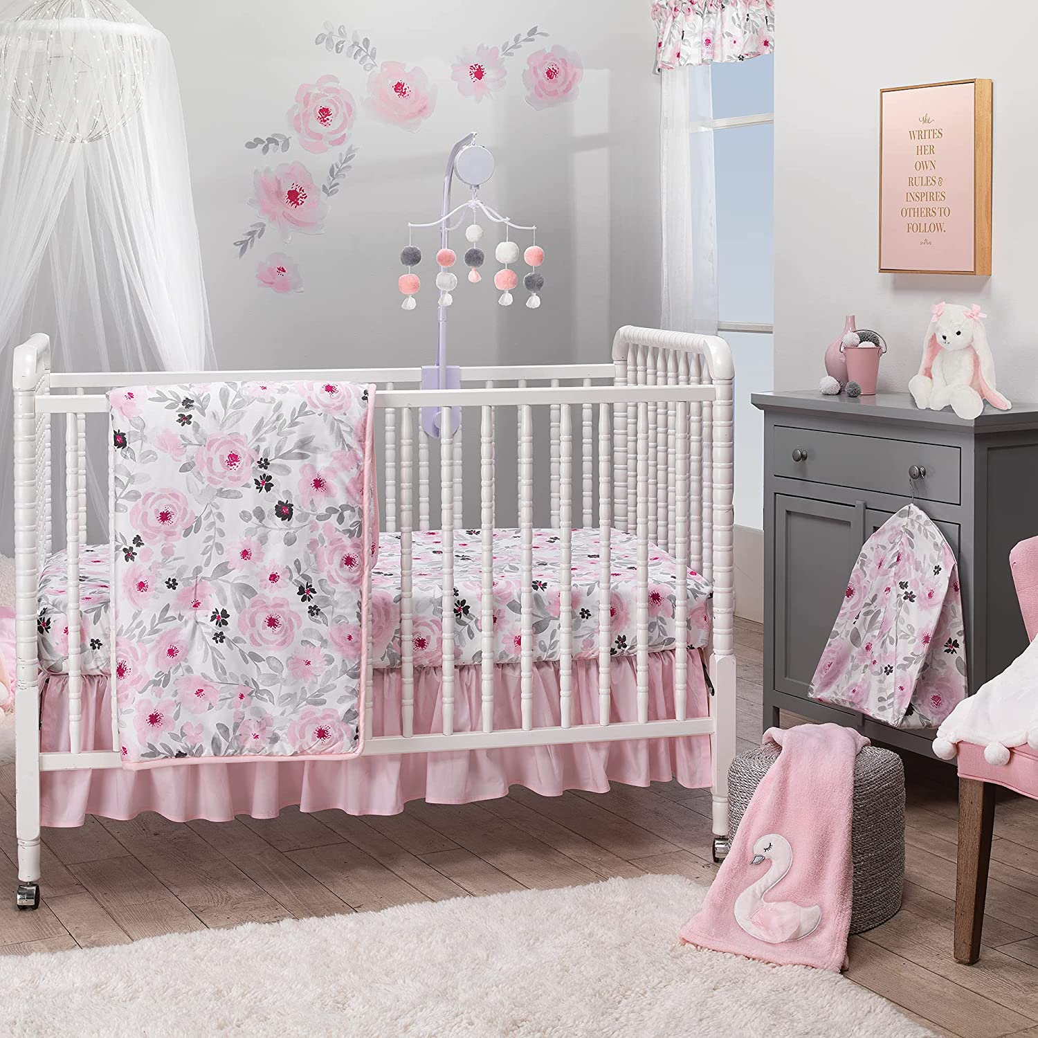 shipfree Bedtime Originals Ranking integrated 1st place Blossom Pink Watercolor Baby Cr Floral 3-Piece