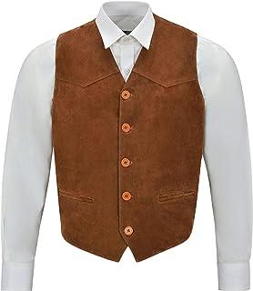 Men's Suede Real Leather Waistcoat Western Cowboy Festival Party Vest