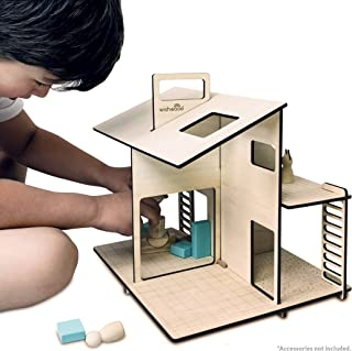 """Wishwood Modern Wooden Dollhouse - Portable Playhouse for Girls and Boys- - 14.2""""x 11.4""""x 13"""" Toddler Playhouse. Toddler Toy House in Reusable Felt Storage Bag"""
