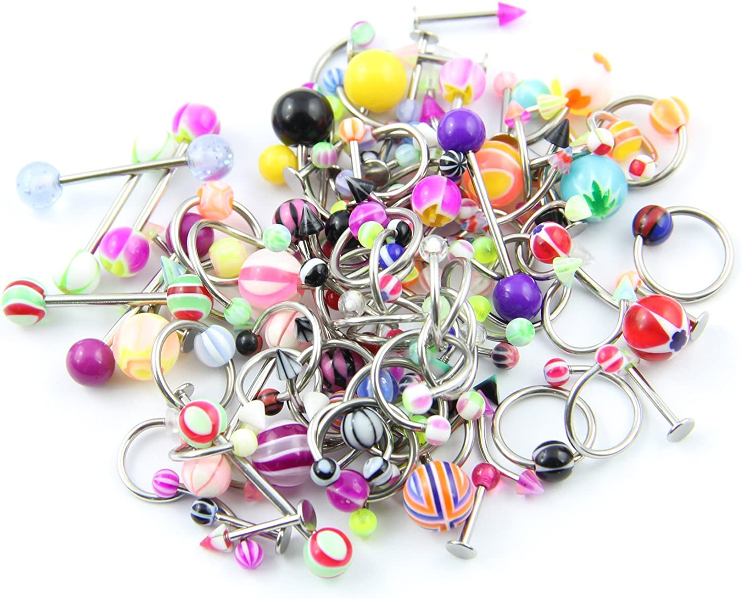 BodyJewelryOnline Lot 10 Pieces Body Jewelry (Belly Button Navel Ring Tongue Labret Eyebrow Chin)