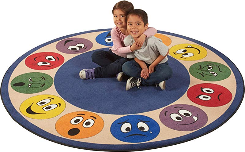 ECR4Kids Expression Educational Circle Area Rug For Children Kids Carpet For School Classroom Home 6 Feet Round Assorted Colors