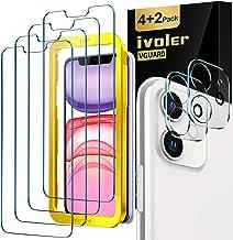 iVoler Lot de 4 Verre Trempé pour iPhone XR et iPhone 11 avec Aide au positionnement, [2 pièces] Caméra Arrière Protecteur pour iphone 11, Film Protection en écran -[9H Dureté] [Outil d'Alignement]