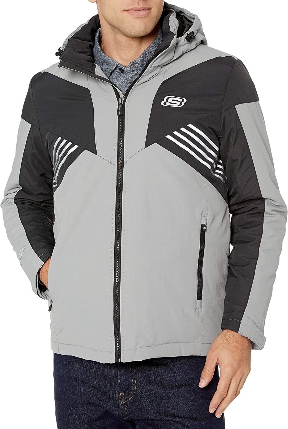 Skechers Men's Midweight Rain Jacket with Removable Hood