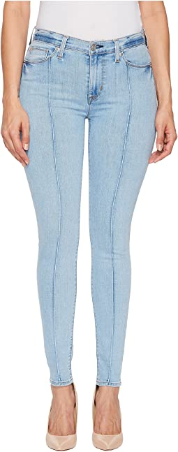 Barbara High-Waist Pin Tuck Ankle Skinny Jeans in Nymph