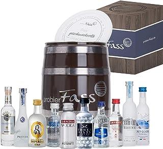 probierFass Vodka Geschenk | 10 beliebte Vodka Klassiker 8 x 0.05l und 2 x 0.04l in einem originellen Fass mit Geschenkverpackung | Vodka Probierset | Vodka Set | Vodka Geschenkset