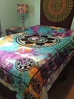 4Rissa Lotus Flower Om Aum Symbol Tie Dye Hippie Boho Indian Tapestry Wall Hanging Bedspread