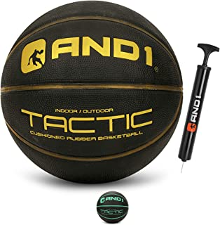 AND1 Tactic Softech Rubber Basketball (Deflated w/Pump Included): Streetball, Made for Indoor/Outdoor Basketball Games