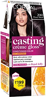 L'Oreal Paris Casting Crème Gloss Small Pack, 200 Ebony Black, 45g