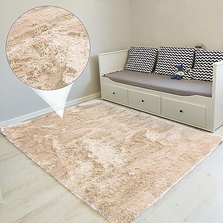 Tapis Salon Shaggy - Descente de lit Chambre Grande Taille Tapis Poils Longs Moderne tapid Moquette Poil Long tapi (Beige, 160 x 230 cm)