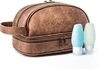 Bencool Leather Toiletry Bag For Men - Dopp Kit - with Free Travel Bottles. Great gift for men - travel accessory bag(Brown)