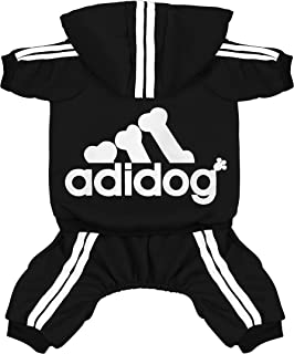 Scheppend Adidog Pet Clothes for Dog Cat Puppy Hoodies Coat Winter Sweatshirt Warm Sweater Dog Outfits, Black Small