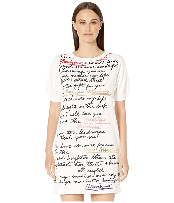 Boutique Moschino Plush Script Print Short Sleeve Dress (Fantasy Print White) Women