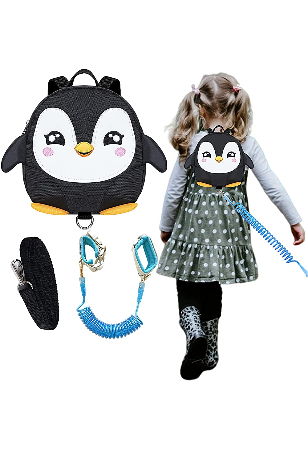 Penguin Toddlers Leash Backpacks with Child Kids Anti-Lost Wristlets Wrist Link (Black)
