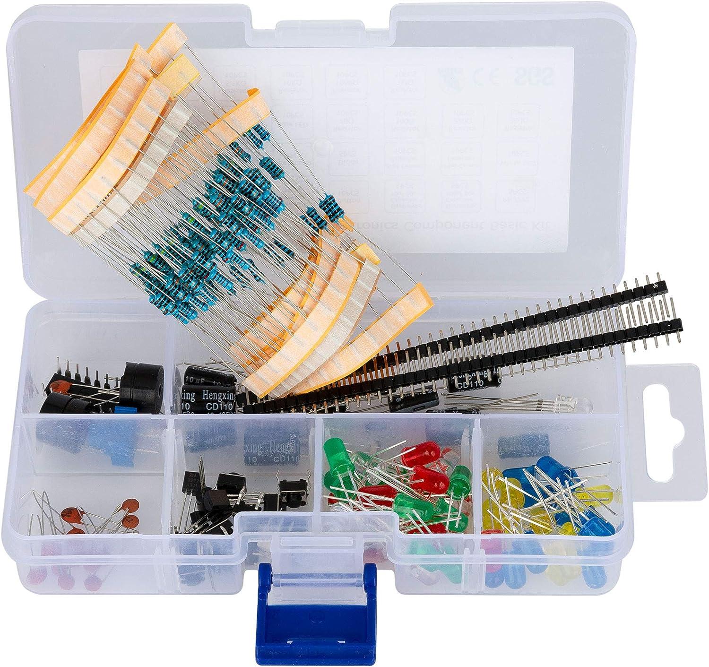 haraqi Electronics Component Kit with Resistors, LEDs, Potentiom