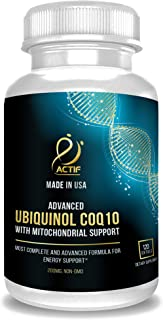 Actif Super Ubiquinol CoQ10 with Enhanced Mitochondrial Support, Non-GMO, Made in USA, 200mg, 120 Count
