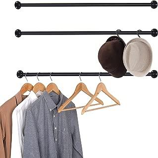 MyGift Set of 3 Matte Black Metal Wall-Mounted Corner Garment Rod/Clothing Hanging Bar, 33 Inch Each