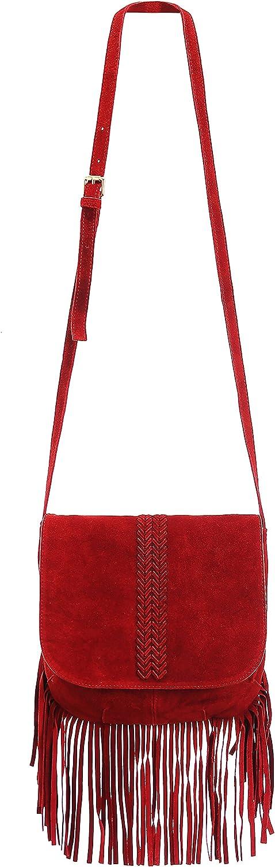 ZLYC Women Bohemian Nubuck Leather Washington Mall Tribal Pouch Tasse Long-awaited Fringe Bag