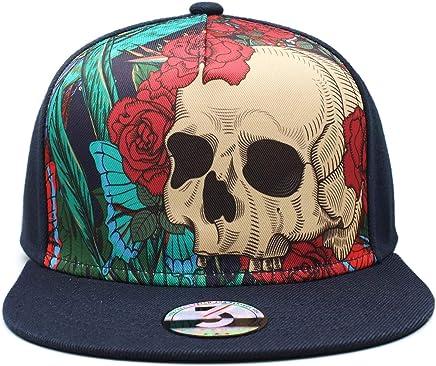 0a240c6e TT smemes Black American Skull Fitted Flat Brim Baseball Cap Snapback Men  Women Trucker Hat