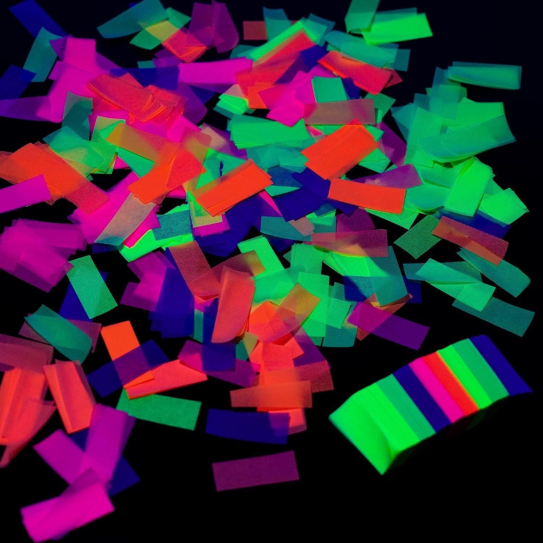 10000 Pieces UV Neon Confetti Blacklight Glow Party Confetti 5 Colors Neon Fluorescent Tissue Confetti for Wedding Bachelorette Baby Shower Birthday New Years Party Confetti Decorations
