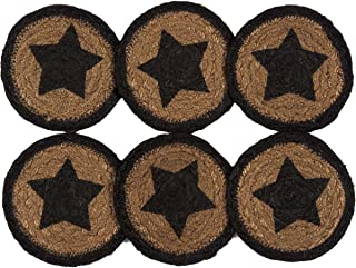 VHC Brands Classic Country Primitive Tabletop & Kitchen - Farmhouse Jute Black Stencil Star Coaster Set of 6 black/brown