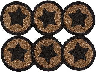 VHC Brands Classic Country Primitive Tabletop & Kitchen - Farmhouse Jute Black Stencil Star Coaster Set of 6 black/brown