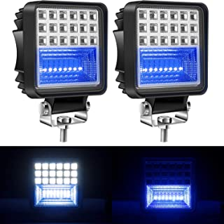 Yorkim Offroad 4x4 Led Fog Lights Blue & White Combo with Flash Strobe, Offroad Led Pod Light Cube, Offroad Led Flood Lights, 4x4 Led Spot Lights For Truck Jeep SUV