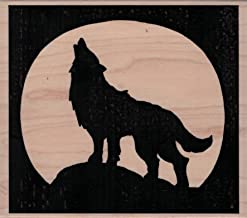 Impression Obsession J23009 Howling Wolf Moon Wood Mounted Rubber Stamp