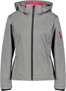 CMP Women's Softshell Jacket windfree and Waterproof, Nero Mel-Magenta, 18