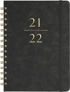 """برنامه ریز آکادمیک 2019-2020 - برنامه ریز هفتگی و ماهانه با زبانه ها ، چرم صاف Faux و پوشش انعطاف پذیر با کاغذ سفید ، ژوئیه 2019 - ژوئن 2020 ، حلقه قلم ، اتصال سیم دوقلو ، 5.85 """"x 8.25"""" ، خاکستری"""