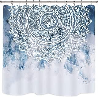 Riyidecor Blue Mandala Shower Curtain India Ethnic Boho Medallion Abstract Bohemian Retro Floral Geometric Fabric Waterproof Home Bathtub Decor 12 Pack Plastic Hook 72x72 Inch