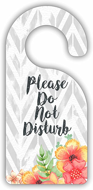 Please Do Not Disturb Flowers On Chevrons Room Door Sign Hanger Hardboard Glossy Finish