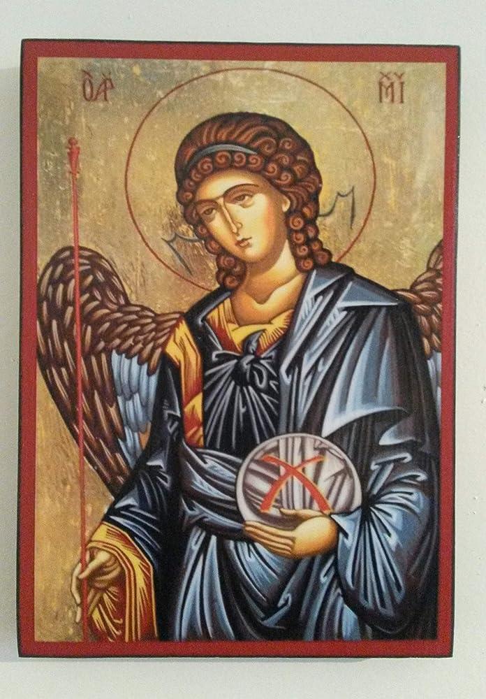 Artastate icona di san michele arcangelo in legno