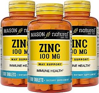 Mason Natural, Zinc, 100 mg, Immune Health, 100 Tablets (Packaging May Vary)
