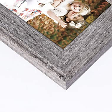 BOICHEN Picture Frames 8x10 Gray (Set of 4 Pack) - Rustic Farmhouse Wood Grain Photo Frame with Glass Cover - Ready to Hang or Stand