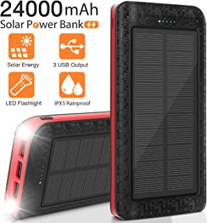 Solar Charger 24000mAh Portable Solar Power Bank External Backup Battery, 3 Outputs-5V/2.1A Huge Capacity Phone Charger, IPX5 Rainproof Bright LED Flashlights for Camping, Travel, Emergency