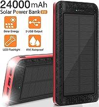 Solar Charger 24000mAh Portable Solar Power Bank External Backup Battery, 3 Outputs-5V/2.1A Huge Capacity Phone Charger, I...
