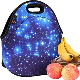 [ICOLOR]ICOLOR Blue Shining Stars Girls Kids Insulated School Travel Outdoor Thermal Waterproof Carrying Lunch Tote [並行輸入品]