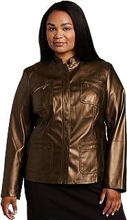 AK Anne Klein Women's Plus Size Faux Leather Jacket