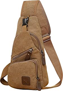 REDCAMP Canvas Sling Backpack, Lightweight Small Crossbody Daypack, Shoulder Chest Sling Bag for Men and Women Travel Sports, Coffee (Brown) - rc17782