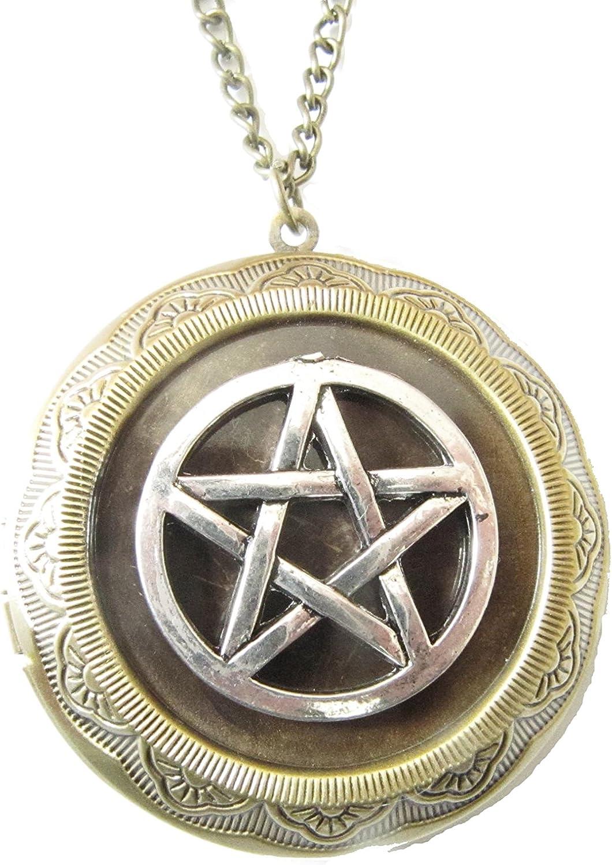 Pentagram excellence Locket Necklace Super intense SALE Pendant Pentacle Bronze